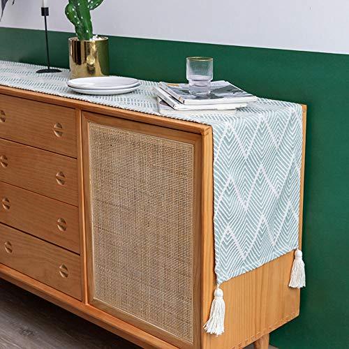 KRXLL Vintage Sackleinen Tischläufer Rustikale Jute Shabby Hessische Tischläufer für Hochzeitsfest Party Party Dekorationen (1pack)-hellgrün_70 * 170 cm