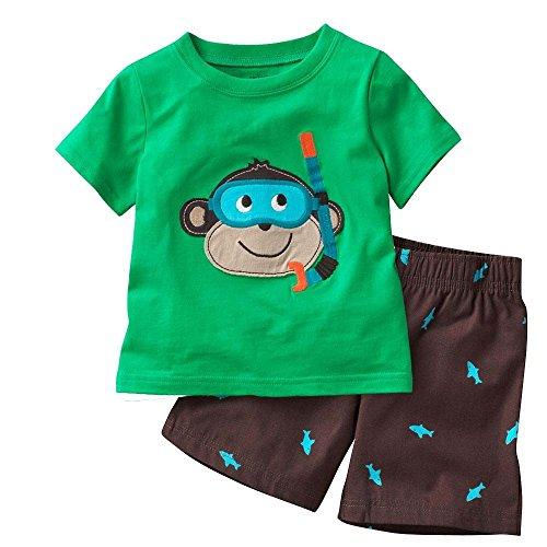 Hooyi - Ensemble de pyjama - Bébé (garçon) 0 à 24 mois Vert Green - Vert - L