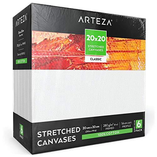 Arteza Leinwand Keilrahmen, 20cm x 20cm Großpack mit 6 bespannten Keilrahmen, weiße grundierte100% Baumwolle, für Malerei, Acrylgießen, Ölfarben & nasse Kunstmedien, Leinwände für Profis & Hobbymaler