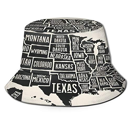 PUIO Sombrero de Pesca,Póster Mapa de Estados Unidos de América con Nombres de Estado,Senderismo para Hombres y Mujeres al Aire Libre Sombrero de Cubo Sombrero para el Sol