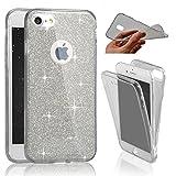 SevenPanda iPhone 8, Weiche Fall-volle Abdeckung 370 Grad Bling Glitter Ultradünne Transparente Abdeckung [Shock Absorption] iPhone 7 Hülle Shell Hülle für iPhone 7/8 4.7 Zoll - Schwarz