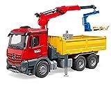 BRUDER - 03651 - Camion benne MB Arocs rouge avec grue et accessoires
