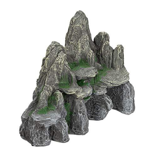 Relaxdays Aquarium Deko, Fels mit Höhlen, Einrichtung Zubehör für Aquarium u. Terrarium, stehend, 21 cm hoch, grau-grün