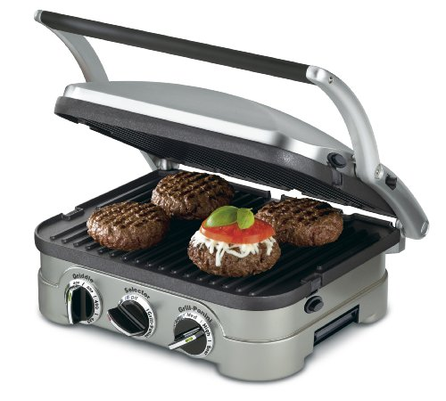 Cuisinart GR-4NP1 GR-4N 5-in-1 Griddler, 13.5'(L) x 11.5'(W) x 7.12'(H), Silver with Silver/Black...