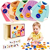 VATOS Wooden Clothes Lacing Toys Toddler Montessori Toy Fine Motor...