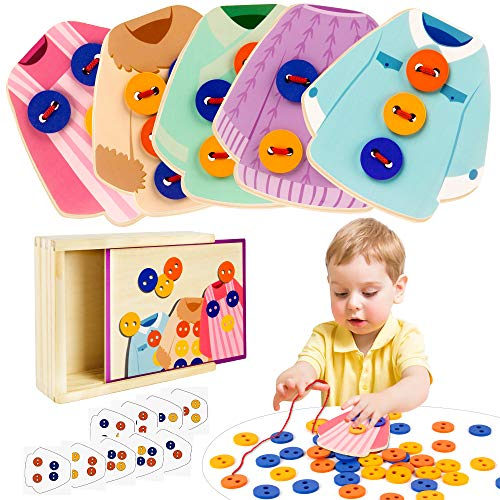 VATOS Wooden Clothes Lacing Toys Toddler Montessori Toy Fine Motor Skill Threading Game Sewing Button Lacing Card Game Preschool Activities Early Development Educational Toy for Kids Age 2 3 4 5 Years