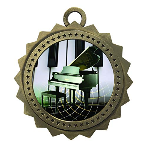 Express Medals Large 3 Inch Piano Recital Gold Medal with Neck Ribbon Award Trophy Plaque Gift Prize