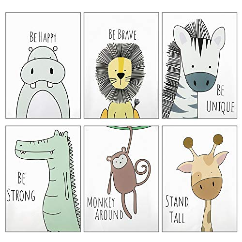 metagio Baby Jungle Theme Nursery Decor Pictures, 6 Pack Cartoon Safari Animals Nursery Wall Art with Inspirational Quote for Baby Boys Girls Kids Bedroom Living Room Bathroom-Unframed