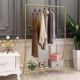 Perchero de exhibición de ropa, riel de ropa antideslizante monorraíl, ahorro de espacio, perchero de metal con estante de malla, hermoso y moderno, para ropa, bolsos, zapatos, cajas de almacenam