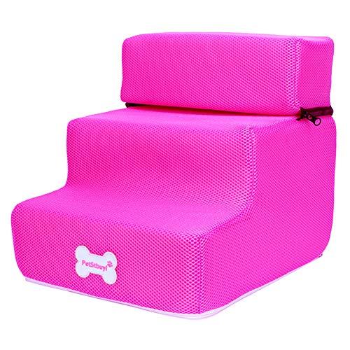 Washranp 12 Colores Pasos Y Escaleras para Mascotas, Perros Pequeños Gatos Mascotas 3 Pasos Rampa Antideslizante Extraíble Escalera De Cama Desmontable Rampa para Cachorros Y Gatitos Rosa roja