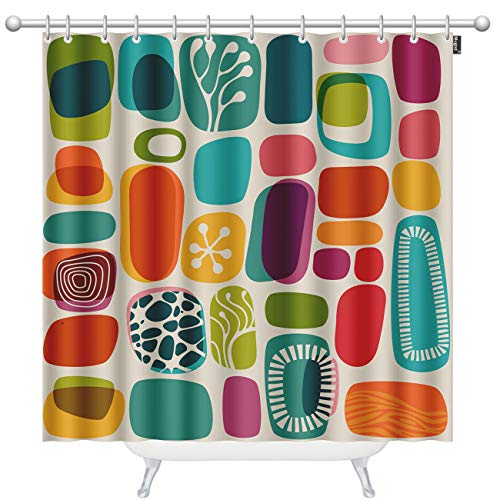 Mugod Geometric Shapes Shower Curtains Retro Style Shapes Vintage Multicolored Fashion Background Decorative Bathroom Waterproof Fabric Shower Curtain with 12 Hooks 60 x 72 Inches