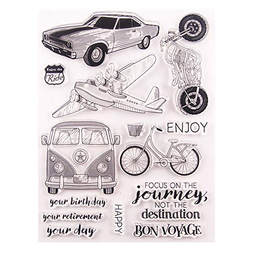 Bon Voyage Journey Vehicle Car Plane Stamp Rubber Clear Stamp/Seal Scrapbook/Photo Album Decorative Card Making Clear Stamps