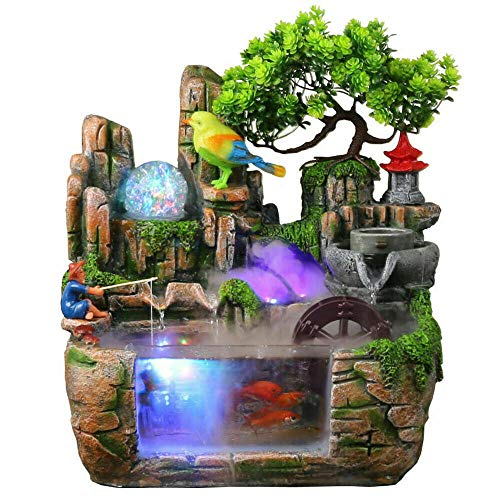 Tabletop Fountain, Portable Resin Atomizing Desktop Humidifier with Rockery Indoor Relaxation Desktop Fountain Waterfall Home Decor for Office Bedroom Relaxation Gift (with Bird + Fisherman)