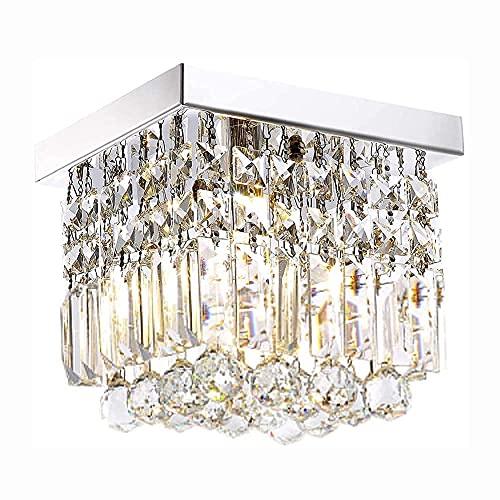 HLY Araña simple, lámpara colgante, lámpara de techo, luz de techo, cristal K9, gota de lluvia cuadrada, 40 cm, moderno, cerca del techo, pasillo, techo decorativo de montaje empotrado 10-s, cristal