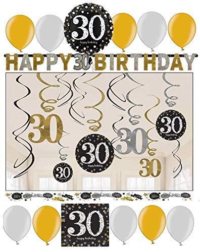 Libetui Geburtstag Dekoration Deko-Set 'Sparkling' Gold Silber Happy Birthday Partykette Girlande Konfetti (30. Geburtstag)