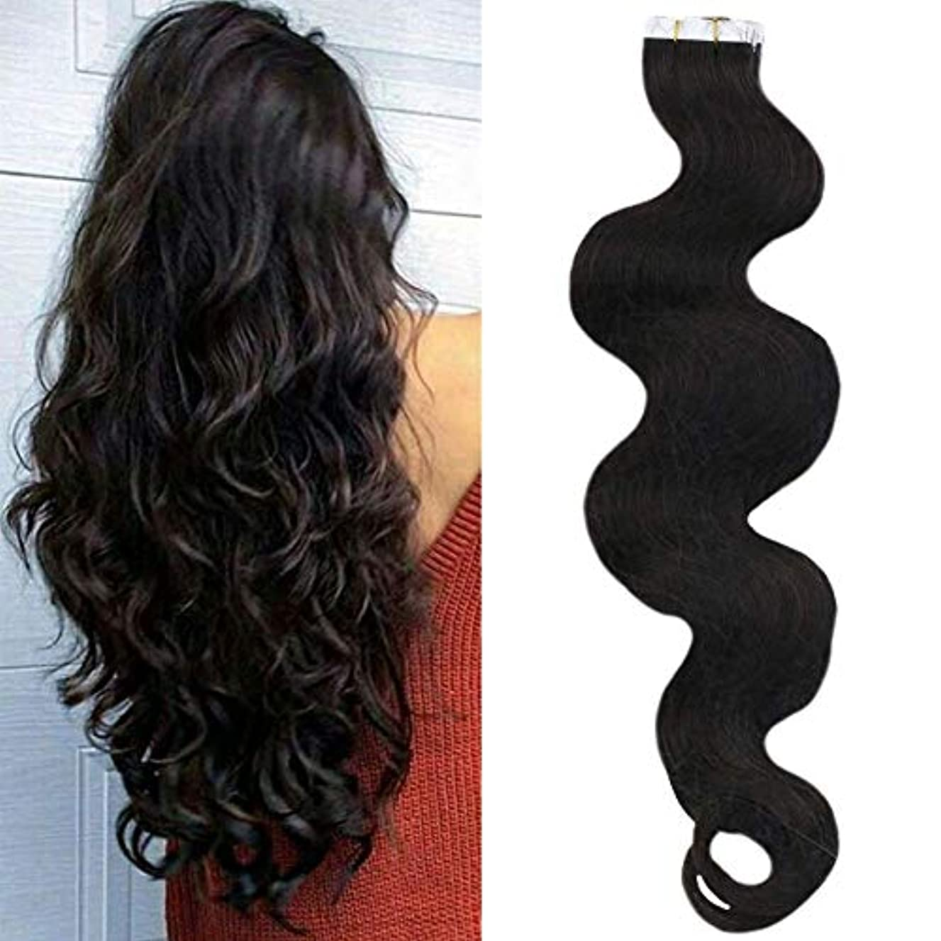 Sunny 16inch Human Hair Tape in Extensions Wavy Remy Hair Tape on Extensions #2 Darkest Brown Body Wave Extensions Curly 2.5g Per Piece 50G