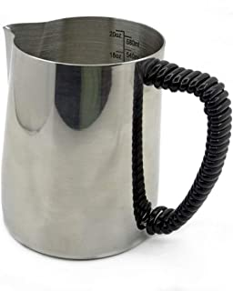 600 ml Milk Frothing Pitcher - Stainless Steel Frothing Cup Professional Latte Coffee Frothing Rubber Handle Jug
