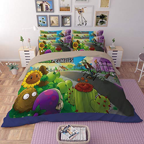 Sunday 3D Plants vs. Zombies Duvet Cover Soft Microfiber Cartoon Bedding Sets with Zipper Closure 1 Duvet Cover 2 Pillowcases, Best Gift for Kids, Twin Size