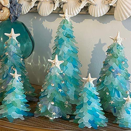 ZARUP Crystal Resin Christmas Tree,Beautiful Green Christmas Tree, Creative Unique Christmas Decoration Sea Beach Resin Christmas Tree, Christmas Holiday Decor,Christmas Sea Glass Tree (5.9in)