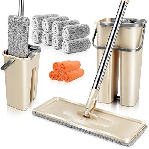 MASTERTOP Flach Mopp Eimer Set mit 8 Mikrofaser Wischkopfs, Hand-Frei Wischmopp Set, EasyWring Bodenwischer zu Reinigung