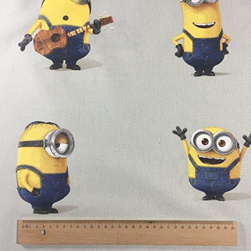 lizenziert von Universal Studios–Grau Iconic Minions Neuheit Print Premium Grade 100% Baumwolle feines Gewebe Kinder Vorhang Betten Stoff 142cm breit, Meterware,
