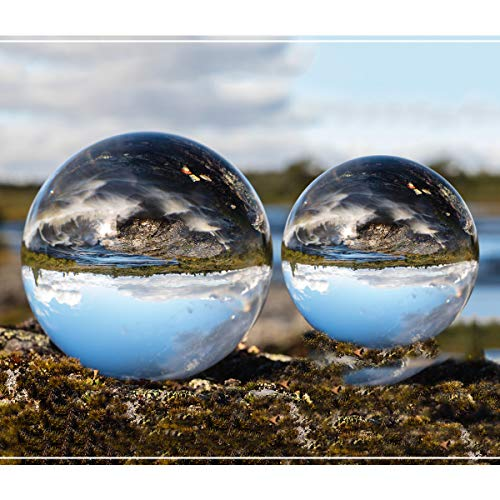 Crystal Ball, 3.15in & 2.36in Lens Crystal Balls Pro for Photography Accessories, K9 Crystal Sphere Ball with Two Microfiber Pouchs,Crystal Glass Photography Gifts Decoration Ball