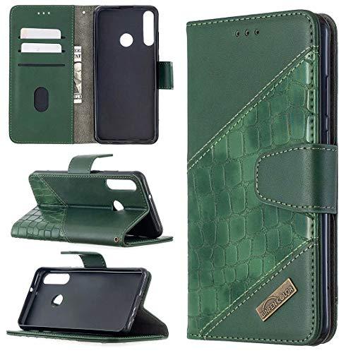 Miagon Huawei Y6P Stoßfest Brieftasche Hülle Cover,Krokodil Spleißen PU Lederhülle Ständer Kartenfächer Magnetverschluss Silikon Handytasche,Grün