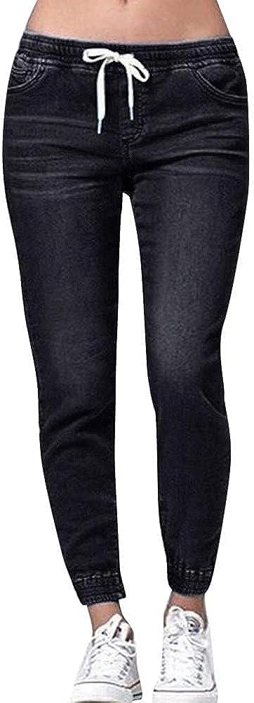 WUAI Plus Size Boyfriend Jeans for Women Stretchy Elastic Waist Drawstring Ripped Distressed Pencil Denim Pants Leggings