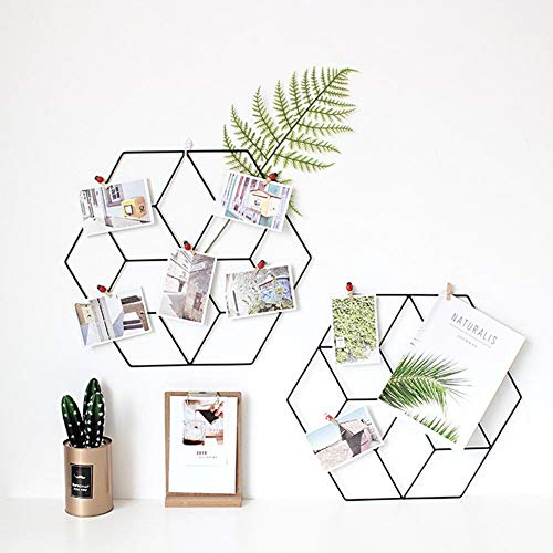 Nordic Ins Stil DIY Innovative Rack Hexagonal Schmiedeeisen Gitter Rot Foto Wandregal Dekoration