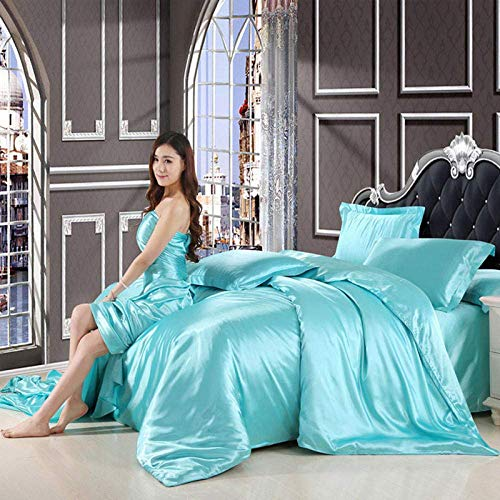 XYSQWZ Duvet Double Cover Set,satin Pure Silk Bedding Set, King Queen Size Bed Set Duvet, (King,220 * 240CM) cover Sheet Flat Sheet Bed Home Textile Suitable for Single Double Bed,sky Blue