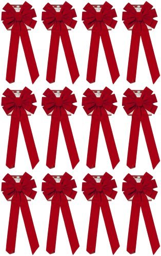 Black Duck Brand Set of 12 Christmas Red Velvet Bows 26' Long 10' Wide 10 Loop Holiday/Christmas Bow!