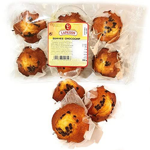 LAPASION Magdalenas Suaves con Chips de Chocolate, 250 Gramos, 6 Unidades
