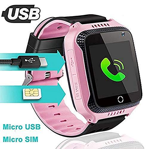 Smartwatch Intelligente Uhr für Kinder, GPS, LBS WiFi-Positionierung, 3 Armbanduhr mit Anruf Sprache Chat Kamera Schrittzähler Wecker, 6 cm Touchscreen
