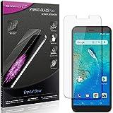 SWIDO Panzerglas Schutzfolie kompatibel mit General Mobile GM 8 Go Bildschirmschutz-Folie & Glas = biegsames HYBRIDGLAS, splitterfrei, Anti-Fingerprint KLAR - HD-Clear
