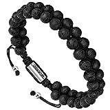 murtoo Essential Oil Bracelet Adjustable, Mens Beads Bracelet Lava Rock Stone Bracelet Perfume Diffuser Bracelet, 7-9inches(Black 6mm)