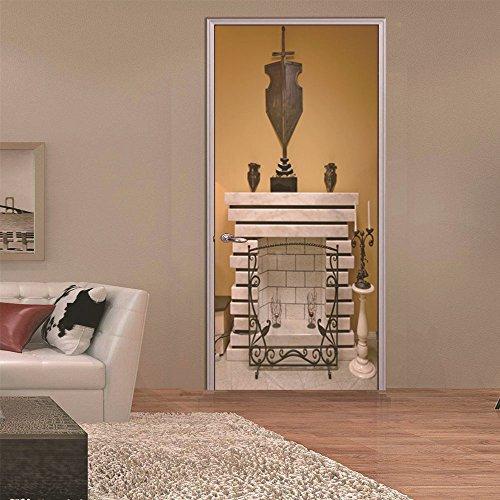 Türtapete Türposter 3D Kamin Wasserdicht Selbstklebend Fototapete Türfolie Poster Tapete 90 x 200 cm