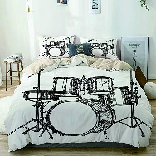 MANISENG Bettwäsche-Set Mikrofaser,Beige,Skalierbares Musik-Schlagzeug-Kit Rock Jazz Roll Cymbal Drawing Design,1 Bettbezug 240x260 + 2 Kopfkissenbezug