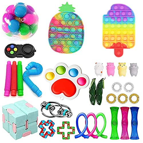 Juego de 30 juguetes sensoriales, alivia el estrés y la ansiedad kits para niños adultos, regalos para fiestas de cumpleaños, bolsas de Navidad, premios para el aula escolar, premios de carnaval (juego de 2)