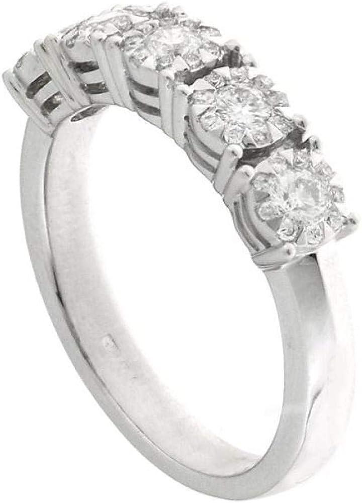 Chimento,anello per donna ,in oro bianco 18 kt(5,3 gr)centrale arricchito da un multipietre di diamanti 0.48 k 1AHH030BB5140