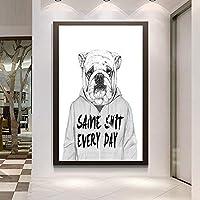 ファッションキャンバス絵画 「私は色が必要」ブラック・ホワイト・ドッグプリントやポスター漫画リビングルームのホームインテリア「ビーイング通常は退屈です」 (Color : Lye1604 06, Size (Inch) : No frame 50x70cm)
