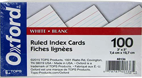 """OXFORD Index cards, 3"""" x 5"""", 100 pk, white, ruled,Case Pack 30, Ideal for Bulk Buyers"""