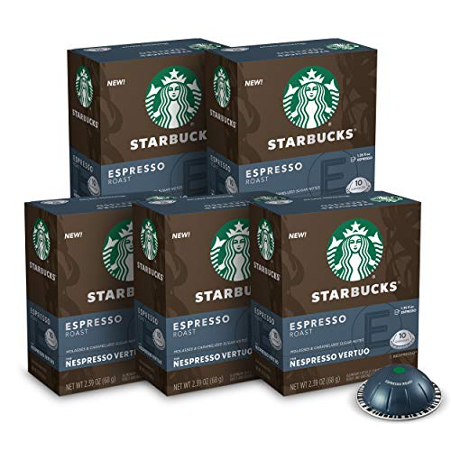 Starbucks by Nespresso Capsules for Vertuo Machines — Dark Roast — 5 boxes pods total, Espresso Roast, 50 Count