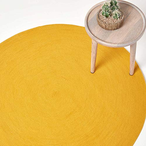 Homescapes Teppich 150 cm Rund im Senfgelb Handgeknüpft aus Baumwolle runder Wendeteppich für Wohnzimmer Schlafzimmer und Flur einfarbig handgewebter runder Retro Teppich im Gold