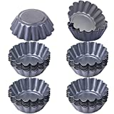 12/24 Pz Stampo per Crostate Uova Mini Teglie per Muffin Cake Cup Quiche Stampo Budino Piatto Torte Rotondo Riutilizzabile Antiaderente Foglio di Alluminio Strumenti Bakeware Fai Da Te (24pcs)