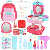 E-More 30 PCS Juguete Maquillaje Niñas, Belleza Juguete Set con Princesa Mochila Incluir Joyería Juguete, Cepillos, Barras de Labios, Espejo para Niñas 3 4 5 6 7 8 Años