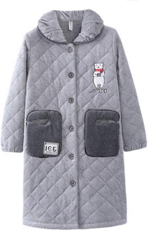NAN Liang Luxury Pajamas Women 100% Cotton Thick Long Paragraph Robe Warm Home Service Soft (Size   XL)