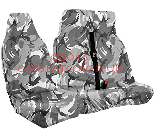 Carseatcover-UK xxgrycamovset08 - Fundas de asiento para furgoneta color gris camuflaje urbano, individual + doble