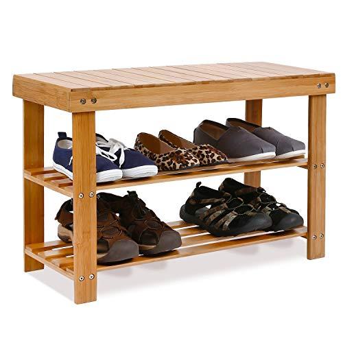 Homfa Banc à Chaussures Etagère à Chaussures Meuble de Rangement en Bambou (Naturel, 70×28.5×45cm)