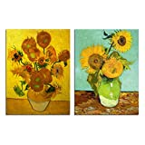 Van Gogh Sunflower Wall Decor - Canvas Art Picture Home Decoration Abstract Vase Flowers Oil Painting Reproduction Floral Giclee Print Living Room Kitchen Bedroom Artwork 2 Piece Unframed 12''x16''