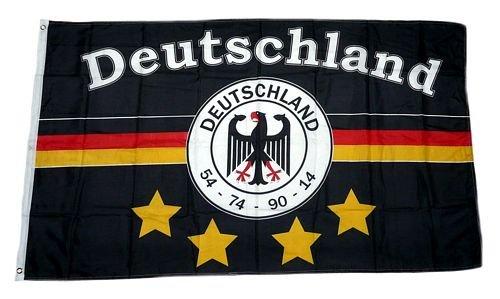 Fahne/Flagge Deutschland Fußball 4 Sterne Fan 90 x 150 cm